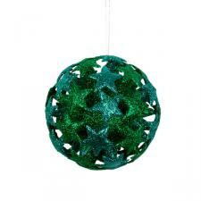 Green/Blue 3D Star Bauble - 80mm
