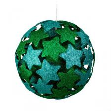 Green/Blue 3D Star Bauble - 250mm