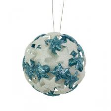 White/Light Blue 3D Star Bauble - 80mm