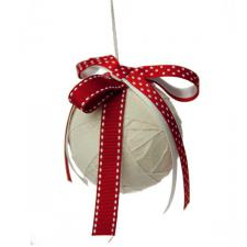 Cream Ribbon Wrapped Hanging Ball Decoration - 7.5cm