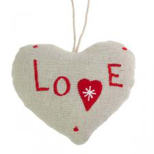 Fabric Hanging Love Heart Decoration - 10cm