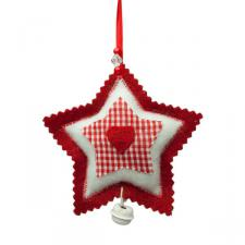 Red Scalloped Edged Felt Star Hanging Decoration - 10cm
