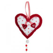Red Spotted Hanging Heart Decoration -11cm