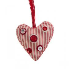Striped Fabric Hanging Heart with Button Detail - 10cm