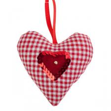 Gingham Padded Hanging Heart Decoration - 10cm