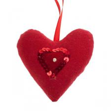 Red Padded Hanging Heart Decoration - 10cm