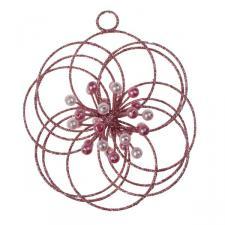 Pink 3D Glitter & Bead Circles Flower Hanger - 100mm