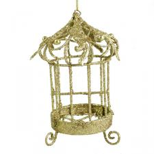 Gold Birdcage Ornament - 8cm X 12cm