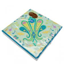 Disposable Teal Paisley Paper Napkins