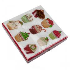 Christmas Lunch Napkins - Christmas Cupcakes