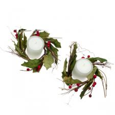 Rustic Holly Range - 2 Candlerings with Candles