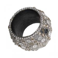 Sparkling Chunky Silver Napkin Ring With Circular Sequin Detail