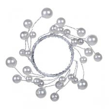 White Pearlised Bead Napkin Ring - 4.5cm