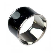 Brass & Black Enamel Napkin Ring