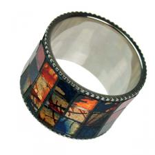 Silver Napkin Ring With Multicoloured Mosaic Glass Inlay