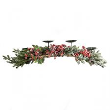 Frosted Berry & Foiliage 3 Candle Holder Centrepiece