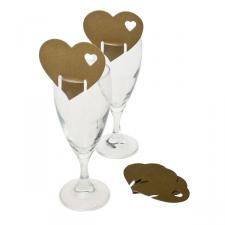 Gold Heart Place Cards - 10 Pack