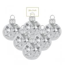 Box of 6 x Clear Glass Placecard Holders With Silver Star Tinsel - 4cm