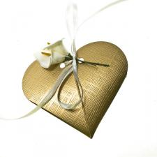 Gold Silk Heart Favour Box