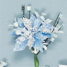 Blue Poinsettia Pick
