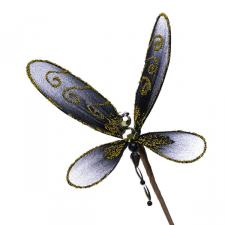 Black and Gold Net Dragonfly Pick - 15cm Wide