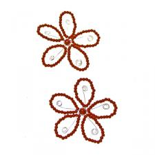 Red Beaded Pearl Flowers - 2 Pack