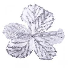 White And Silver Clip On Sequin Flower - 16cm