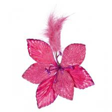 Fuchsia Pink Amarylis With Feather Detail on a Clip - 20cm