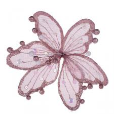 Pink & Iridescent Sheer Flower Clip - 20cm
