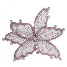 Mauve & Silver Sheer Flower Clip - 20cm