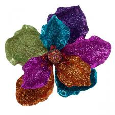 Multi Colour Fabric & Glitter Magnolia Flower On Clip - 20cm