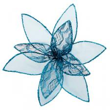 Blue Decorative Organza Fabric Flower With Lace Detailing - 25cm