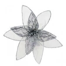 Silver Decorative Organza Fabric Flower With Lace Detailing - 25cm
