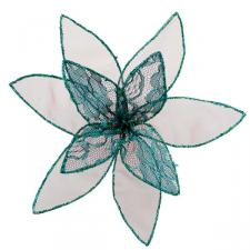 Teal Decorative Organza Fabric Flower With Lace Detailing - 25cm