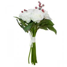 White Rose Bundle With Frosted Red Berries - 32cm