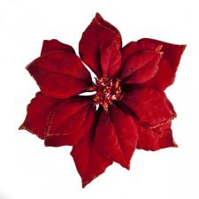 Red Fabric Poinsettia Clip - 24cm