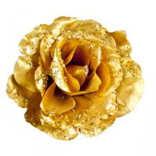 Gold Fabric Rose With Glitter On Clip - 10cm