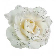 Ivory Fabric Rose With Glitter On Clip - 10cm