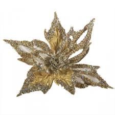 Gold & Platinum Glitter And Beaded Decorative Display Poinsettia On Clip - 40cm