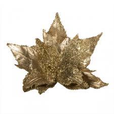 Gold Metallic Finish Two Tone Poinsettia On Clip - 28cm
