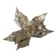 Platinum Metallic Finish Two Tone Poinsettia On Clip - 28cm