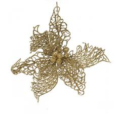Gold Filigree Poinsettia Pick - 25cm