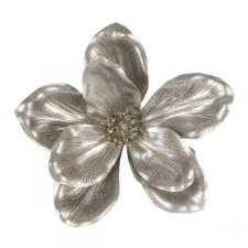 Metallic Finish Champagne Gold Magnolia Flower On Clip - 18cm