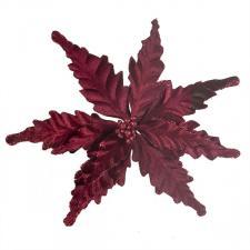 Decorative Burgundy Velour Poinsettia Flower On Clip - 25cm