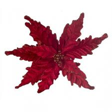 Decorative Red Velour Poinsettia Flower On Clip - 25cm