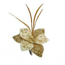 Ivory & Gold Amarylis Clip - 15cm