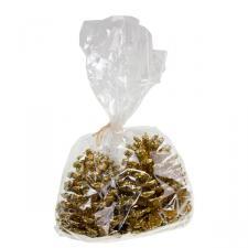 Gold Sparkle Pine Cones - 10cm