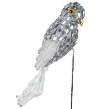 Decorative Silver Parrot On Pick - 20cm