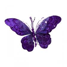 Dark Purple Fabric Butterfly On Clip - 22cm x 22cm