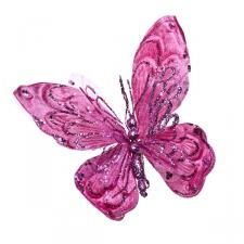 Pink Fabric Butterfly On Clip - 22cm x 22cm